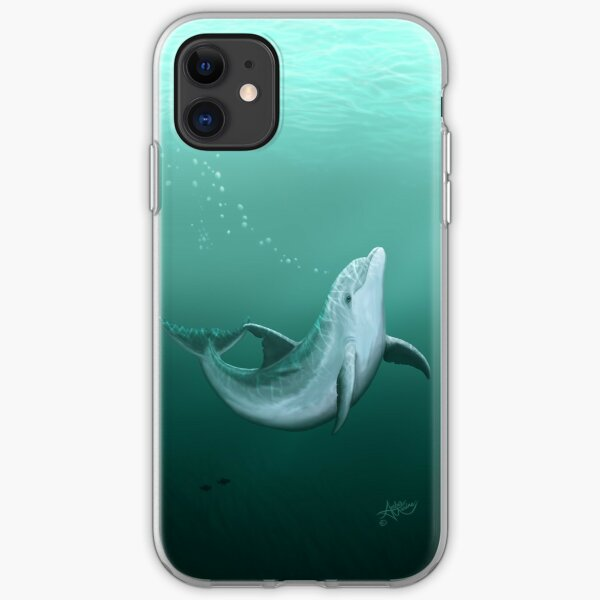 """""""Riversoul"""" by Amber Marine ~ Indian River Lagoon bottlenose dolphin art, © 2014 iPhone Soft Case"""