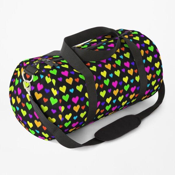 Neon Fluorescent Bright Hearts Duffle Bag