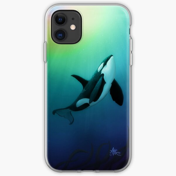 """""""The Dreamer Ascends"""" by artist Amber Marine ~ (Copyright 2015) ~ Orca Art / Killer Whale Digital Painting iPhone Soft Case"""