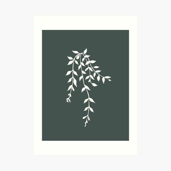 Simple White and Green Vine Plant Illustration Art Print