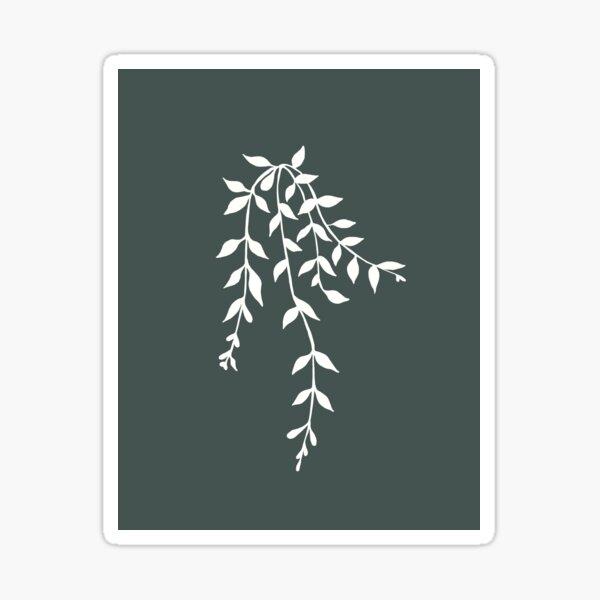 Simple White and Green Vine Plant Illustration Sticker
