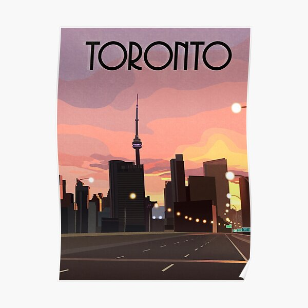 Vintage and Retro Inspired Toronto, Ontario, Canada at Sunrise Travel Poster Poster