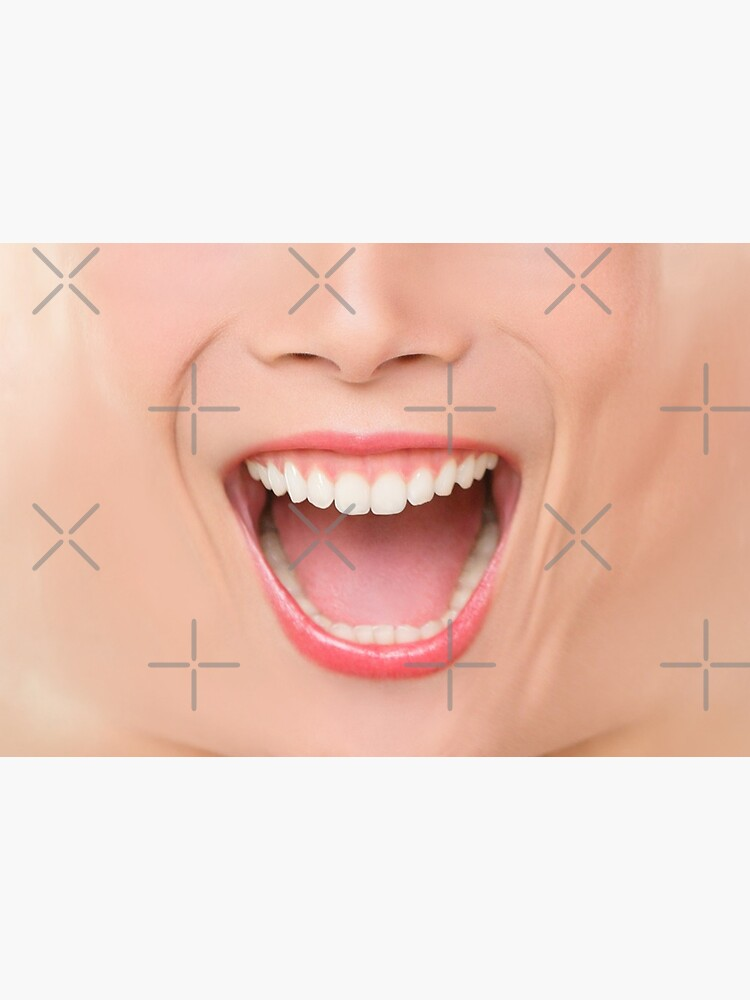 Funny happy face mask woman mouth laughing screaming of laugh by Arianeart