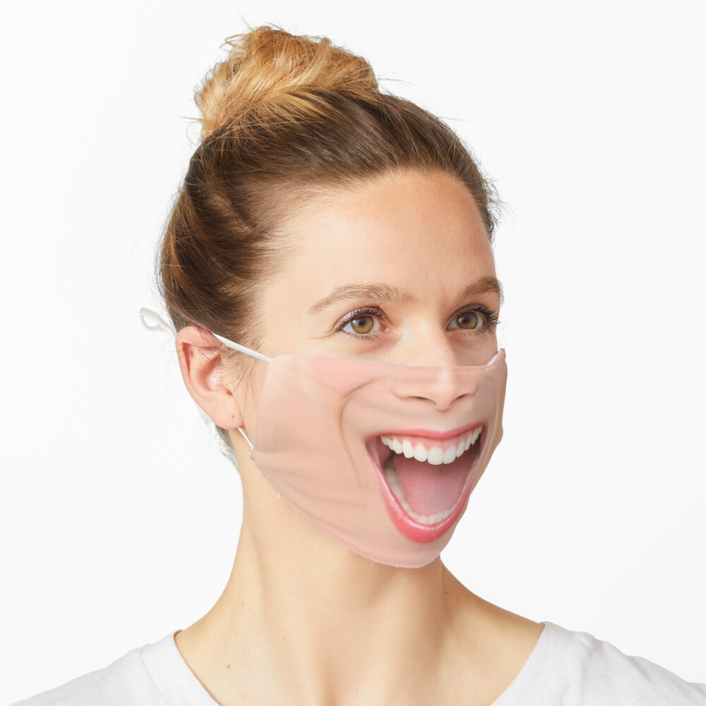 Funny happy face mask woman mouth laughing screaming of laugh Mask