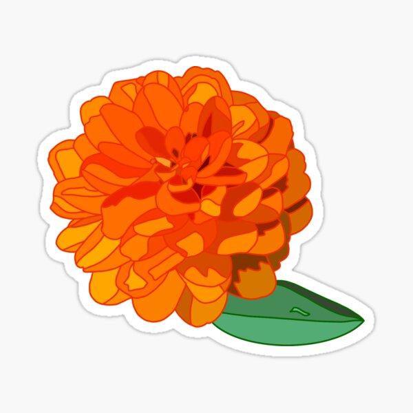 Orange Geometric Zinnia Sticker