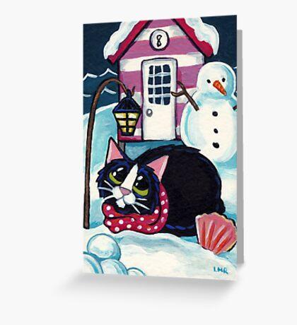 Snow at Beach Hut 8 Greeting Card