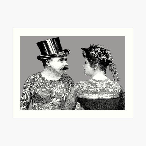 Tattooed Victorian Lovers | Tattooed Couple | Victorian Tattoos | Vintage Tattoos | Tattoo Art |  Art Print