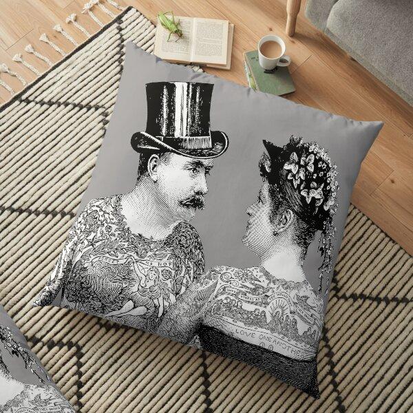 Tattooed Victorian Lovers   Tattooed Couple   Victorian Tattoos   Vintage Tattoos   Tattoo Art    Floor Pillow