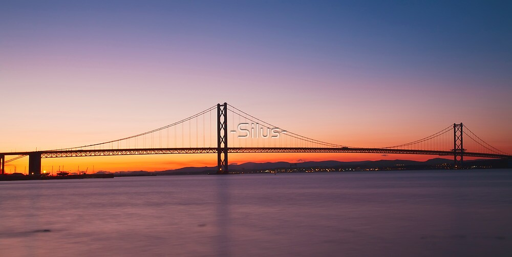 The Forth Road Bridge at dusk in Edinburgh Scotland by -Silus-