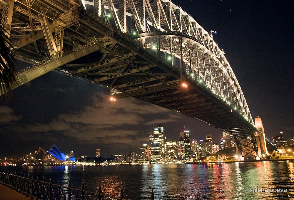 harbour bridge in sydney at night by milena boeva