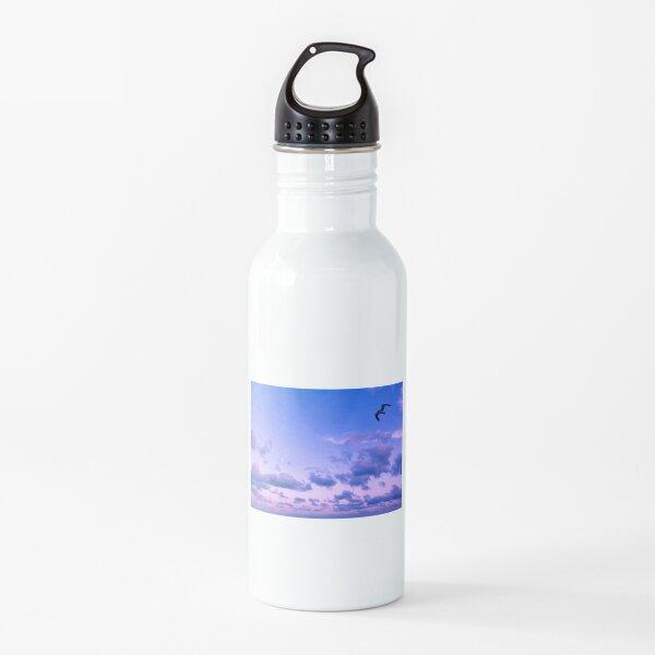 Twilight Flight in a Blue and Purple Sky Water Bottle