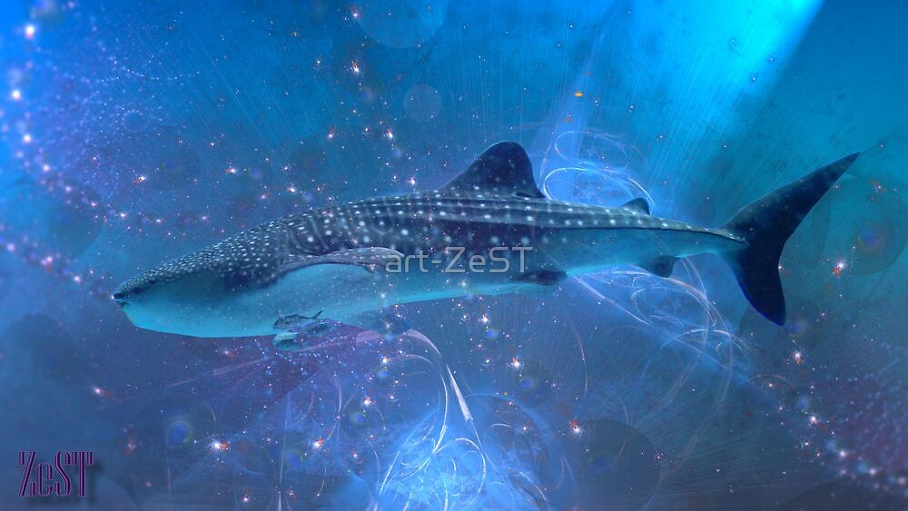 Whale-shark in the fractal big blue. by art-ZeST