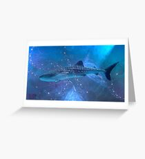 Whale-shark in the fractal big blue. Greeting Card