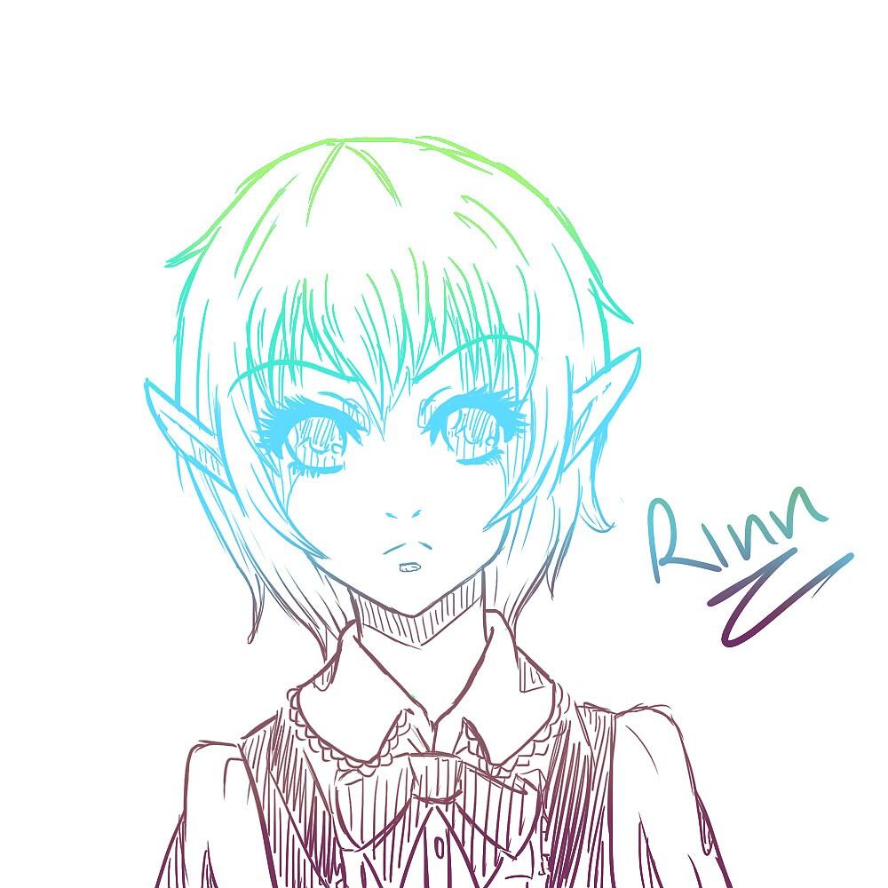Anime girl cute sketch by CrystalHorde