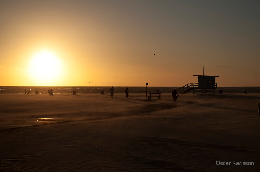 Windy Sunset at Santa Monica Beach by Oscar Karlsson