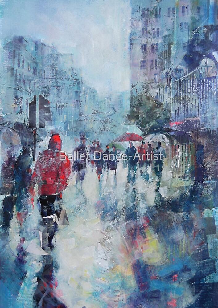 Rain In London - Painting in Umbrellas Art Gallery by Ballet Dance-Artist