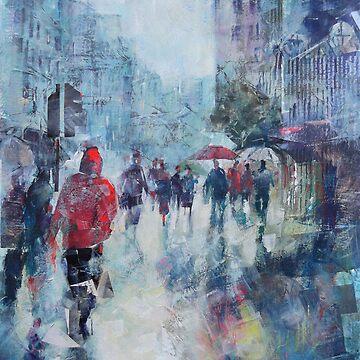 Rain In London - Painting in Umbrellas Art Gallery by ballet-dance