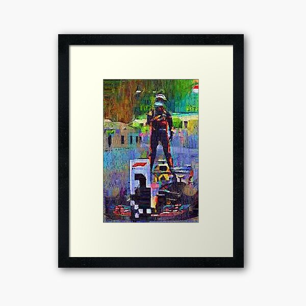 Hand Painted Picture of Daniel Ricciardo After Winning In Monaco (2018) Framed Art Print