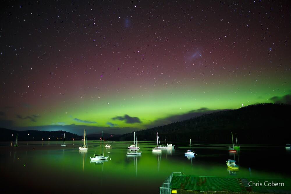 Aurora Australis at Port Huon, Tasmania #5 by Chris Cobern