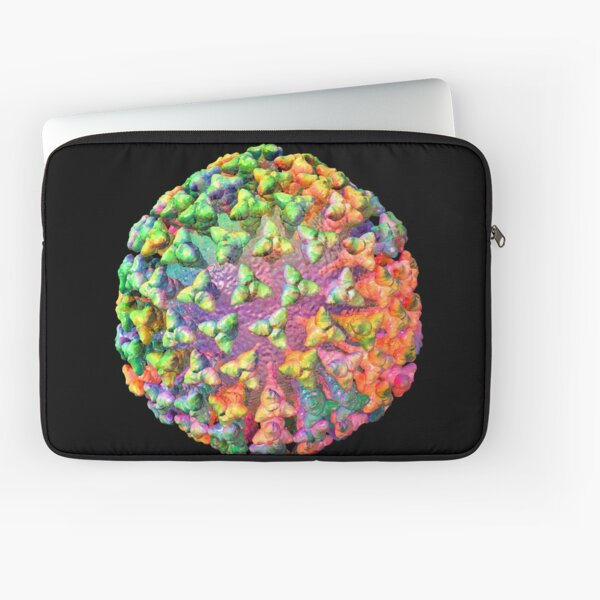 Coronavirus Rainbow on Black Laptop Sleeve