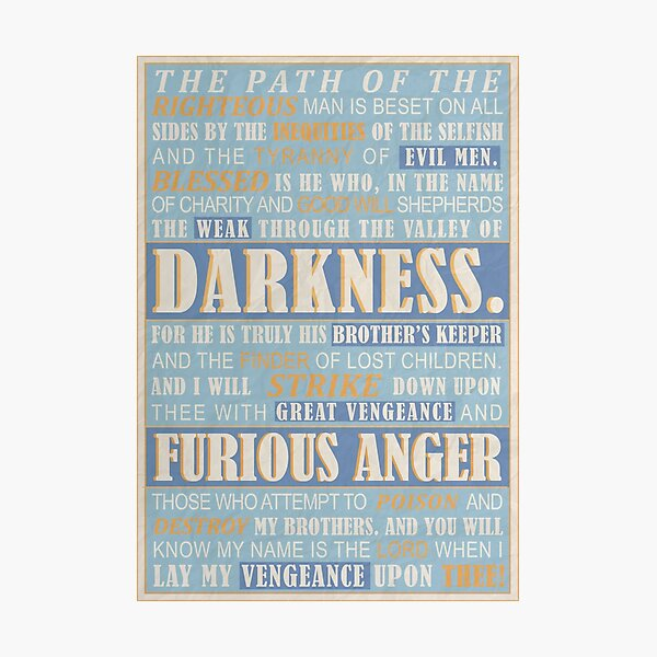 Ezekiel 25 Pulp Fiction Film Inspiré encadrée Imprimer-Cinéma salle de jeux poster