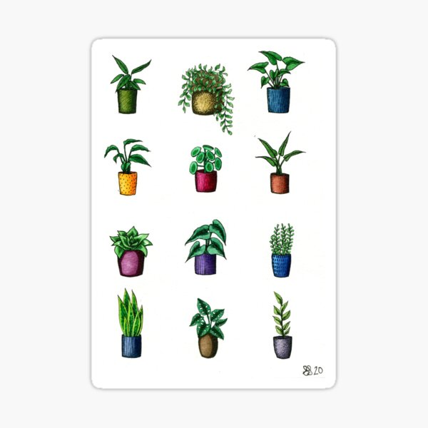 Assorted Mini Potted Plants Sticker