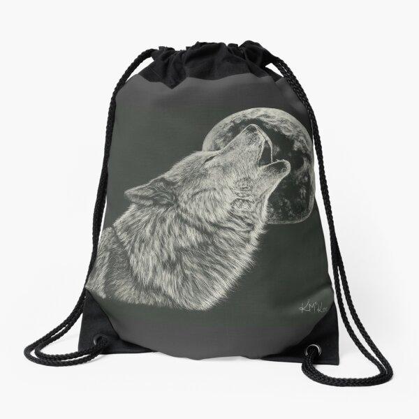 Howling At The Moon Drawstring Bag