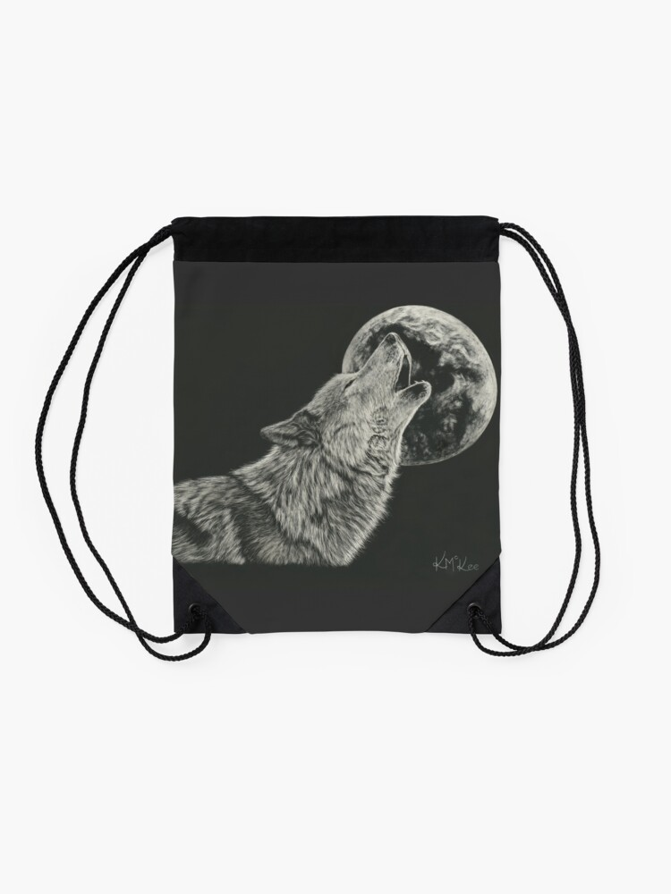 Alternate view of Howling At The Moon Drawstring Bag