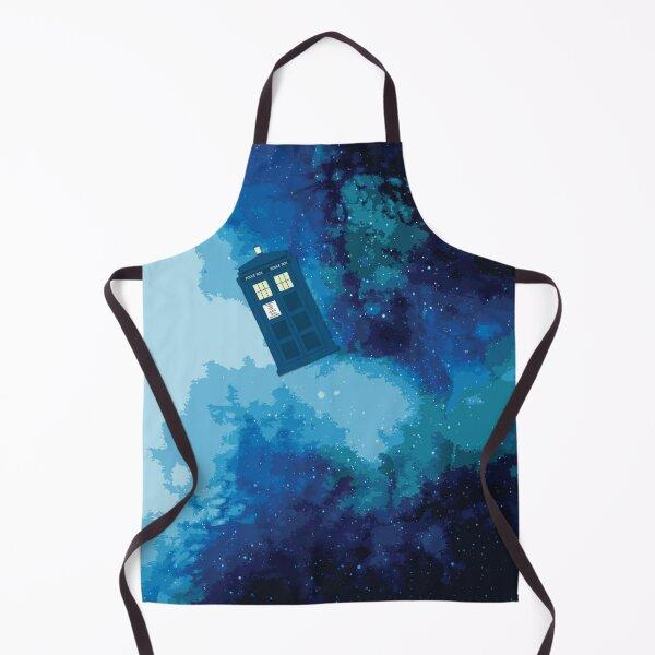 Tardis | Dr. Who Fan Gift | Tardis Police Box Blue Galaxy Print Apron