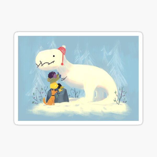 Snowy T-Rex Sticker