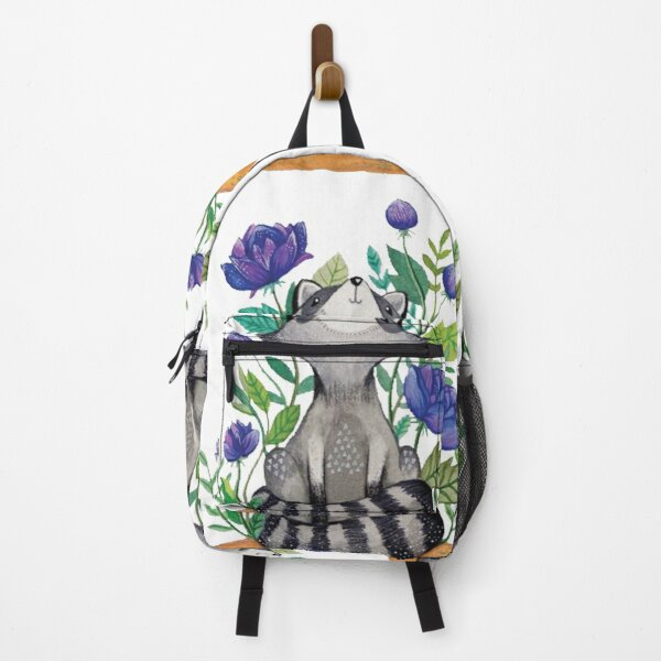 Raccoon Trash Panda Floral Wild Art Backpack