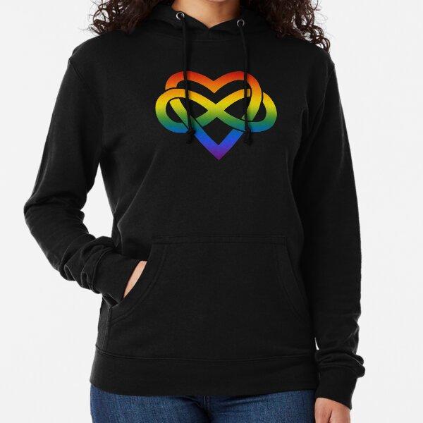 Rainbow Polyamory Inifinity Heart (black) Lightweight Hoodie