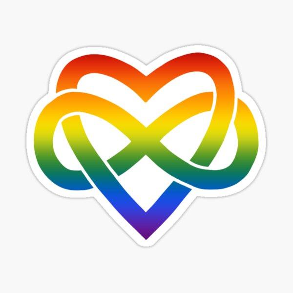 Rainbow Polyamory Inifinity Heart (white) Sticker