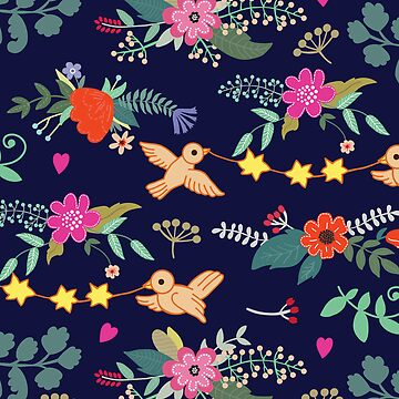 Cute vintage pattern with birds and flowers by Anutina
