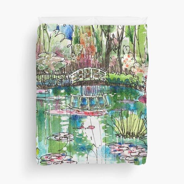 The Japanese Bridge at Monet's garden Duvet Cover