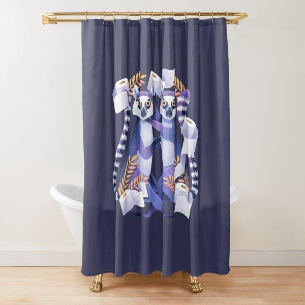 Lemur Toilet Paper Fight Shower Curtain