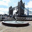 Tower Bridge with Fountain - London by Audrey Clarke
