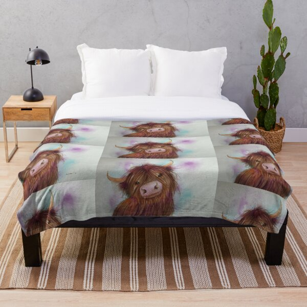 Heeland Coo, Highland Cattle,Cute Highland Cow Throw Blanket