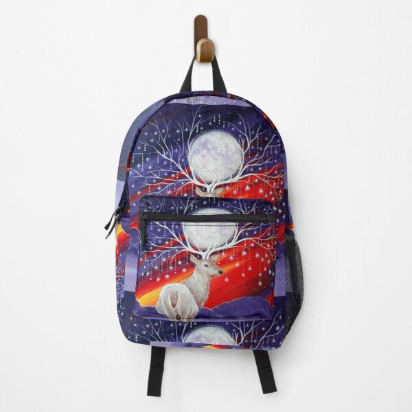 Mystical Stag, Moon and Stars, Stag Art Backpack