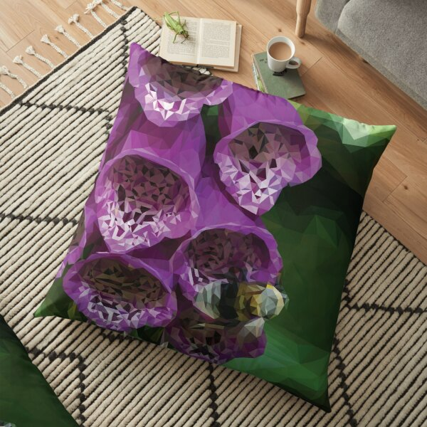 BumbleBee on Foxglove - Low poly Floor Pillow