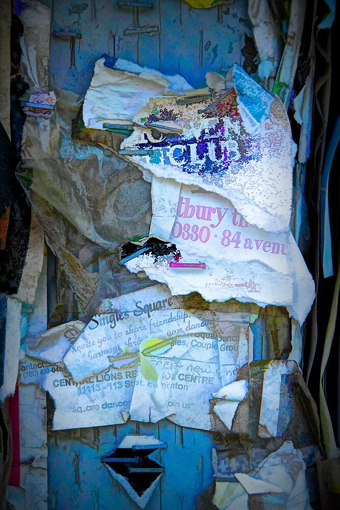 Tattered Paper on a Bulletin Board No. 1038 by Randall Nyhof