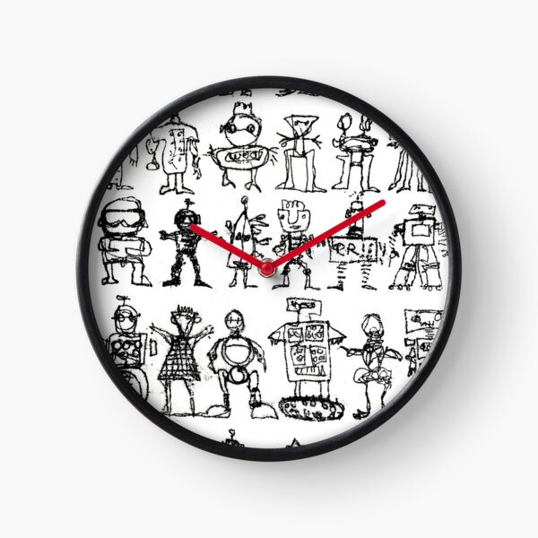 Robots and Aliens in Rows (transparent background) Clock