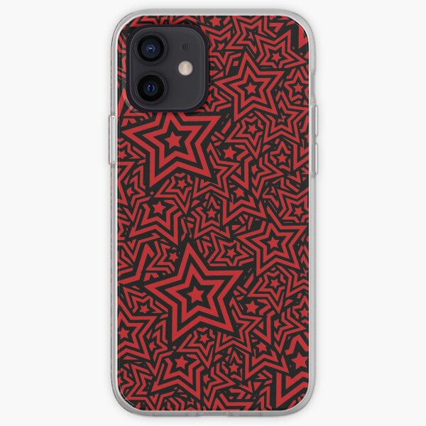 Star Pattern Persona 5 Red & Black iPhone Soft Case