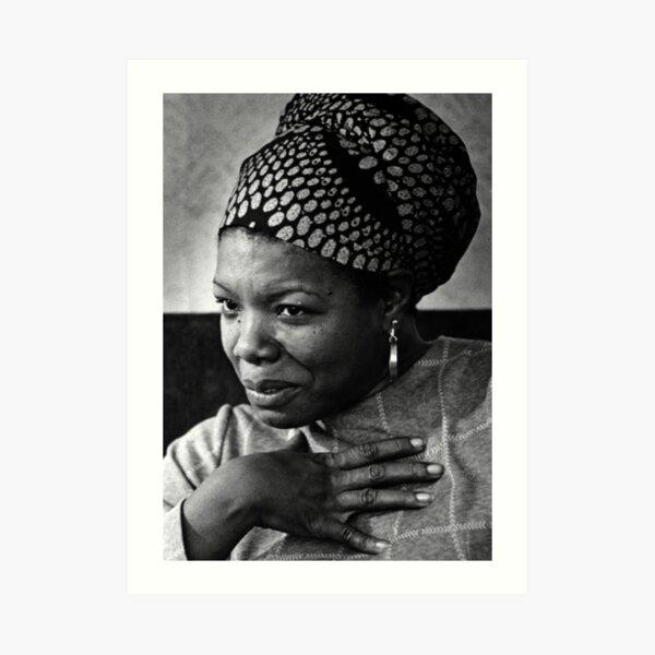 Maya Angelou black & white portrait Art Print