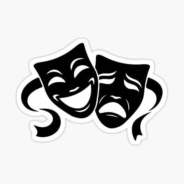 Comedy & Tragedy Theater White Masks Sticker