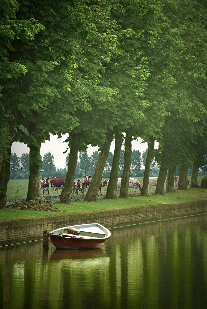 Boat in a Dutch Canal by Randall Nyhof