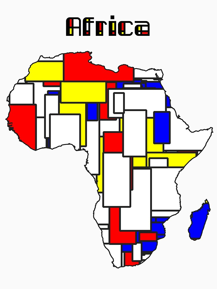 Map of Africa in Mondrian Style by jvdkwast