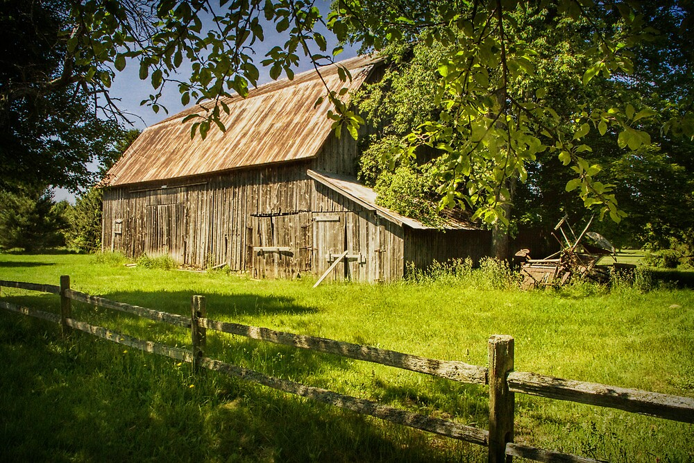 Farm scene with Old Rustic Barn and Wooden Fence by Randall Nyhof
