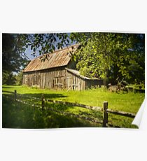 Farm scene with Old Rustic Barn and Wooden Fence Poster