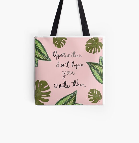 'Opportunities' Tropical pink and green print All Over Print Tote Bag